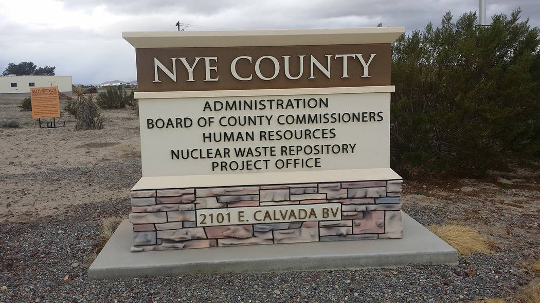 David Jacobs/Pahrump Valley Times A sign for Nye County's government as shown in a 2016 photo in Pahrump. Nye County's general fund consolidated tax is budgeted at $13.7 million in fiscal year 2 ...