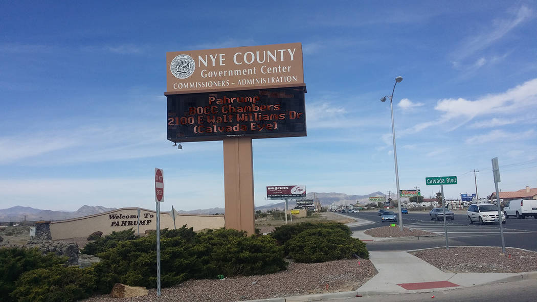 David Jacobs/Pahrump Valley Times A sign for the Nye County Government Center in Pahrump as shown in a 2016 photo. Nye County's total revenues for fiscal year 2018 are projected to be $36.5 mill ...