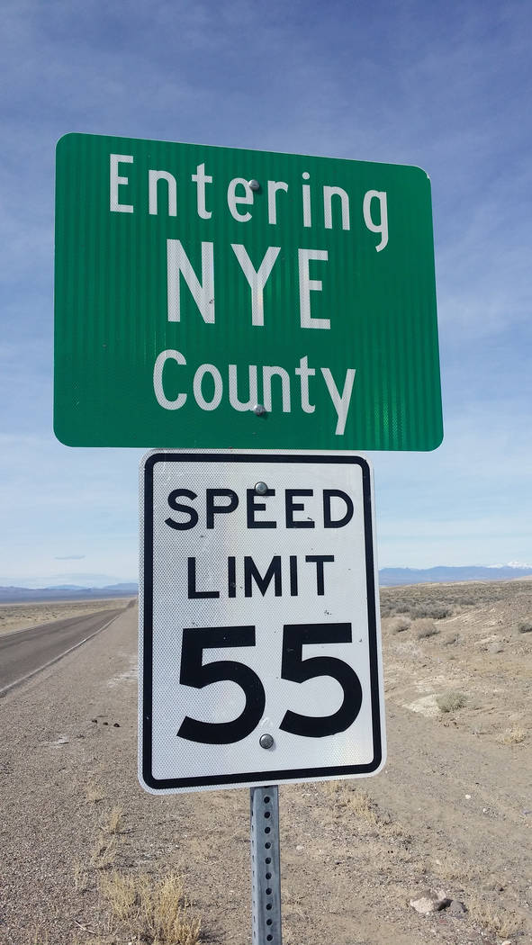 David Jacobs/Pahrump Valley Times A sign welcomes motorists to Nye County as shown last year in a rural portion of the Tonopah region. Nye County Comptroller Savannah Rucker said the county is cur ...
