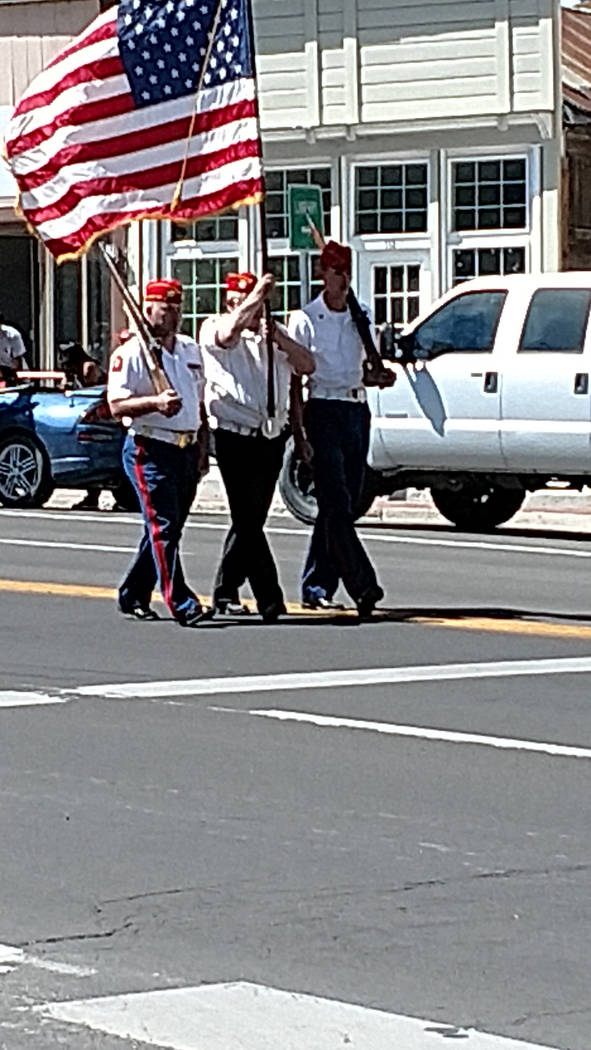 Melissa Roberts/Times-Bonanza Members of a color guard are shown on May 27 during the annual Jim Butler Days parade. Butler Days helps showcase Tonopah's rich history, including as a mining town.