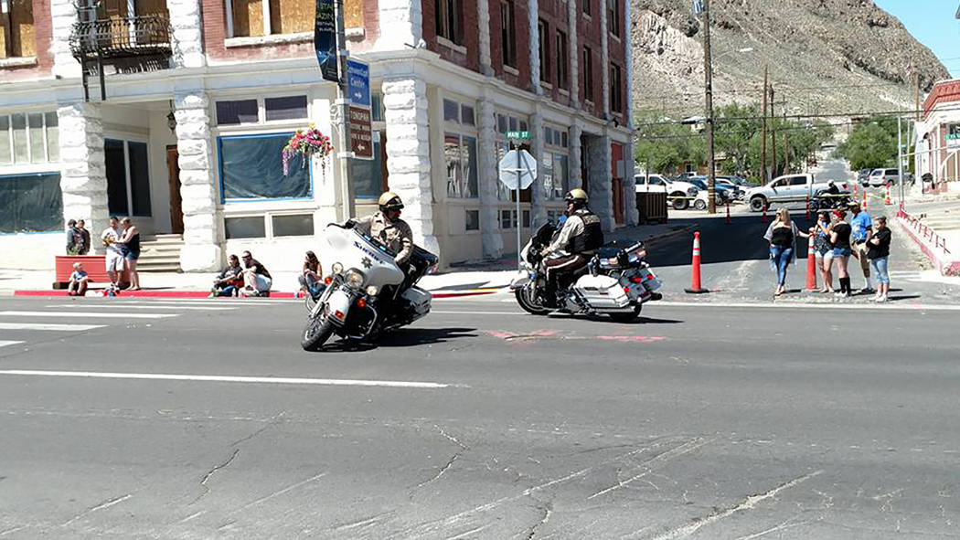 Melissa Roberts/Times-Bonanza Members of the motorcycle unit of the Nye County Sheriff's Office is shown in action during the annual Jim Butler Days parade on May 27 in downtown Tonopah. The parad ...