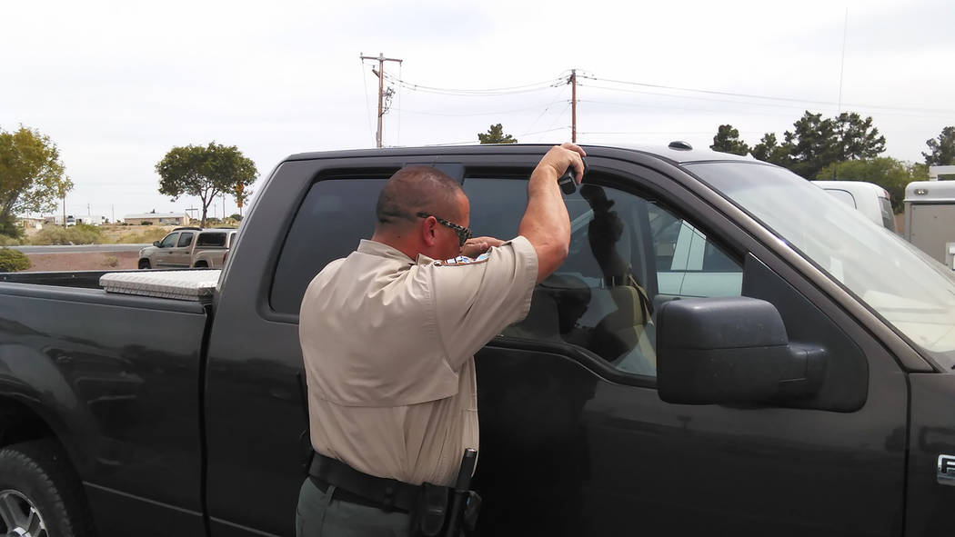 Selwyn Harris/Pahrump Valley Times  Nye County Animal Control Officer Levi Gregory checks the temperature of a vehicle where a keen-eyed Samaritan noticed a small dog locked inside. Fortunately fo ...