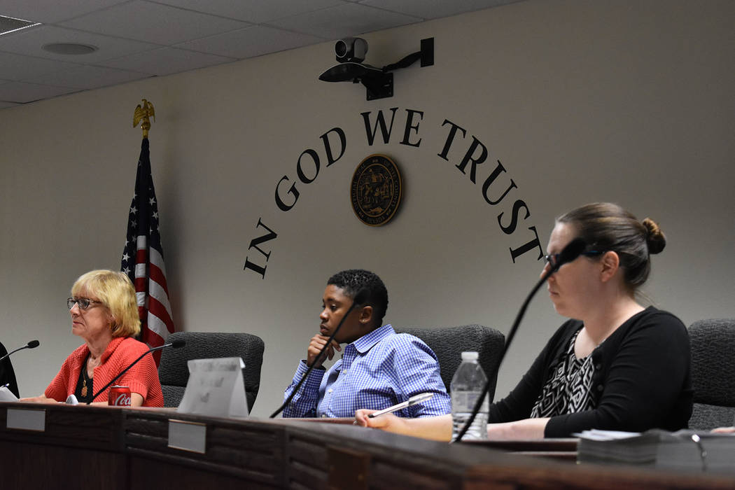 Daria Sokolova/Pahrump Valley Times The Public Utilities Commission of Nevada held a consumer session in Pahrump on June 8. Commissioners heard testimonies from many customers of the Great Basin W ...