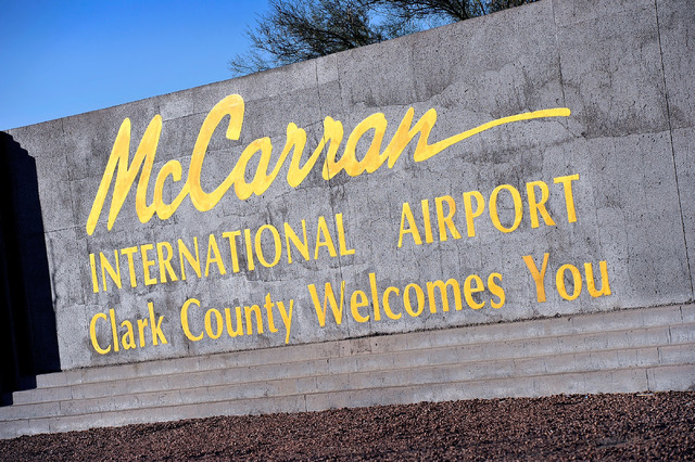 David Becker/Las Vegas Review-Journal McCarran International Airport marque sign is seen on Tuesday, Nov. 25, 2014, in Las Vegas.