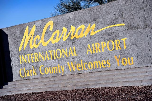 David Becker/Las Vegas Review-Journal McCarran International Airport marque sign is seen on Tuesday, Nov. 25, 2014, in Las Vegas.