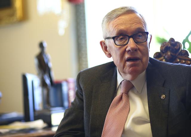 Chase Stevens/Las Vegas Review-Journal Senate Minority Leader Harry Reid, D-Nev., in his office on Capitol Hill in Washington on Monday, Dec. 5, 2016.