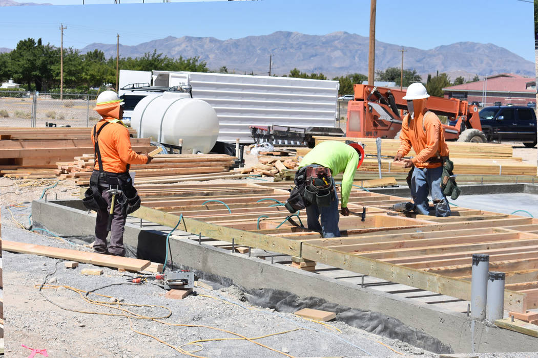 Daria Sokolova/Pahrump Valley Times Builders work on the foundation of the Jack in the Box fast-food restaurant on Wednesday. The construction of Pahrump's first Jack in the Box started about a mo ...