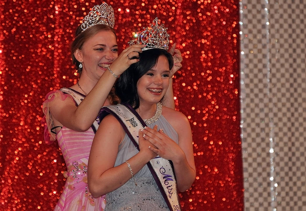 Horace Langford Jr./Pahrump Valley Times Miss Pahrump 2017 Shelby Ledford crowned by outgoing Miss Pahrump 2016 Savanna Greenup.