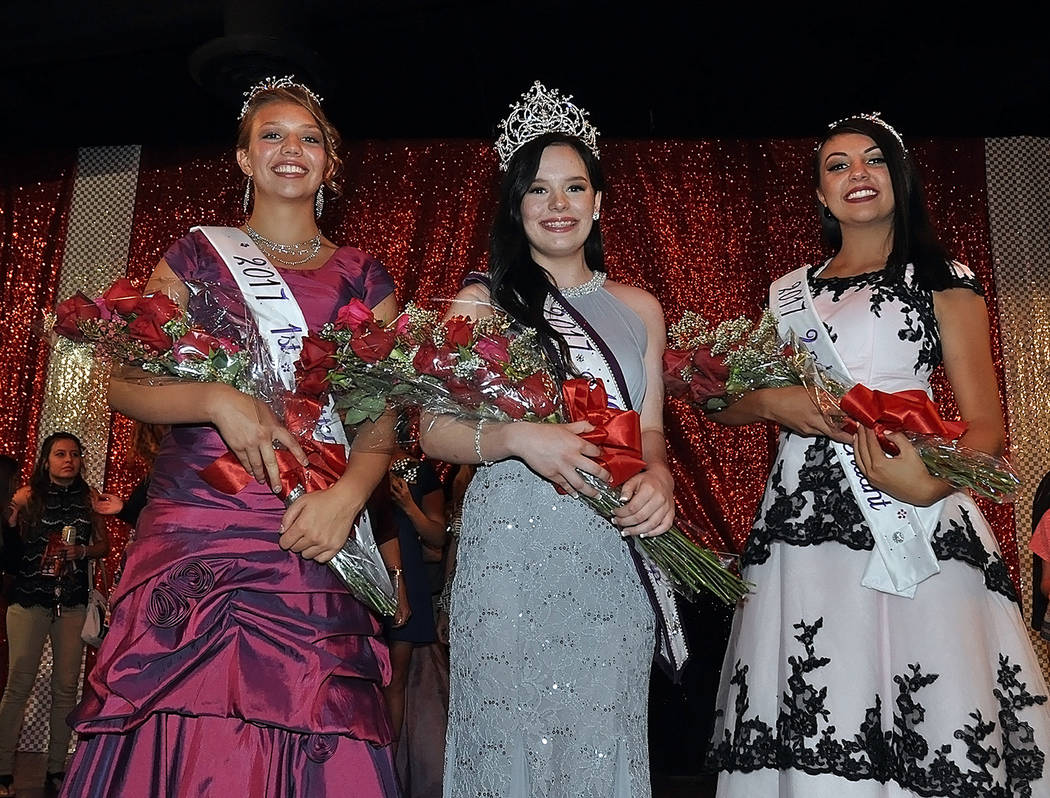 Horace Langford Jr./Pahrump Valley Times - Miss Pahrump 2017 Shelby Ledford with 1st Attendant Jenna Broderick (L) and 2nd Attendant Angel Gibson (R).