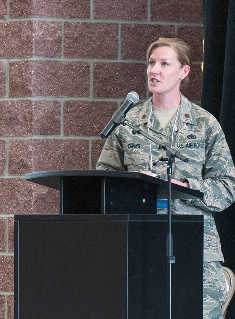 Emerson Marcus/Nevada National Guard Nevada Air Guard Maj. Jami Cavins, a nuclear-medical science officer with the Nevada Guard's 92nd Civil Support Team, speaks at the Two-Year College Chemistry  ...