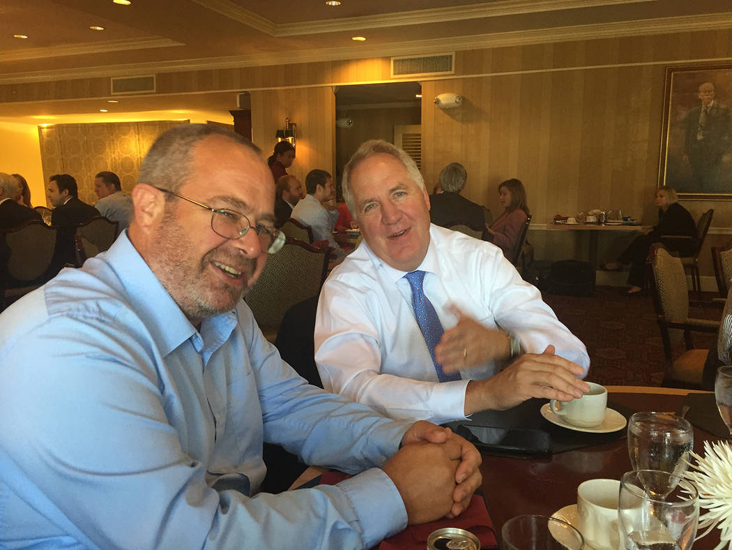 Photo provided by Nye County  Nye County Commission Chairman Dan Schinhofen meets with U.S. Rep. John Shimkus, R-Illinois, on Wednesday in Washington D.C.
