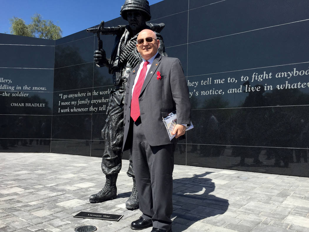 Keith Rogers Las Vegas Review-Journal Army Ranger Hall of Fame soldier Bill Anton at the Nevada Veterans Memorial dedication, May 27, 2016, in Las Vegas.