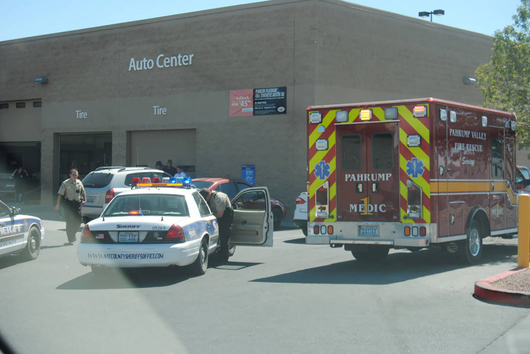 Special to the Pahrump Valley Times  One person was transported to Desert View Hospital after being pinned against a wall at Walmart on Sunday at 3 p.m. Fire Chief Scott Lewis said the patient sus ...