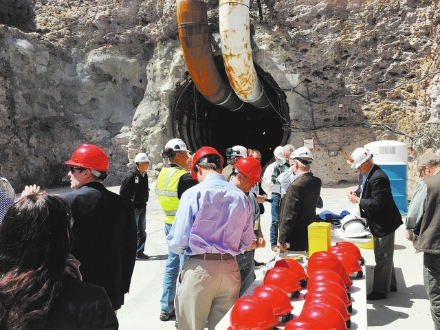 Special to the Pahrump Valley Times A group of government officials and reporters gather outside the entrance to Yucca Mountain for an informational tour in April 2015. U.S. The Trump administrati ...