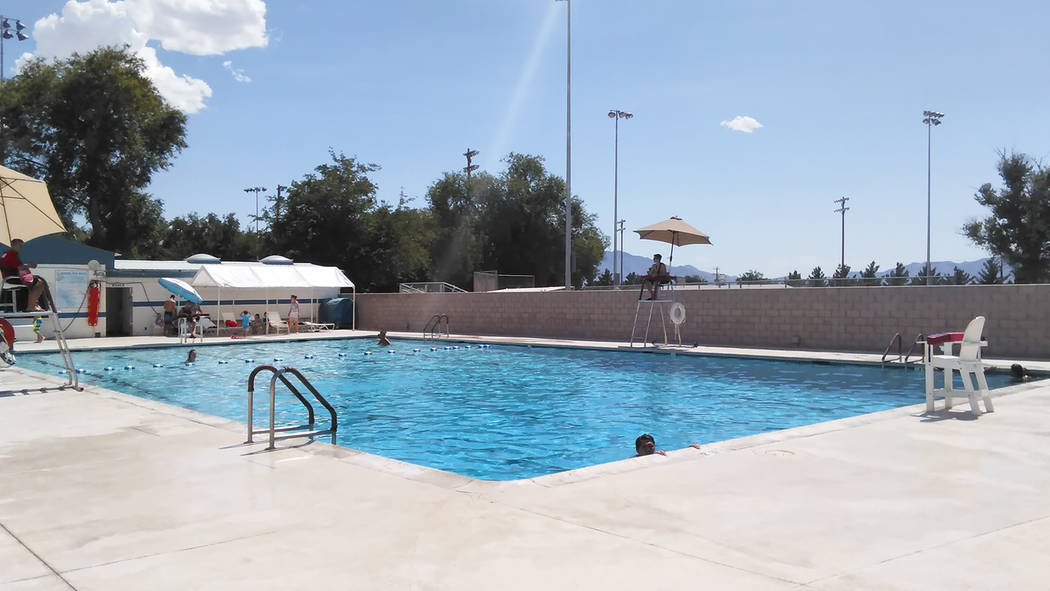 Selwyn Harris/Pahrump Valley Times  As inviting at it appears, the town swimming pool was absent of swimmers looking to beat the heat this week. Many visitors to the pool opted for shade surroundi ...