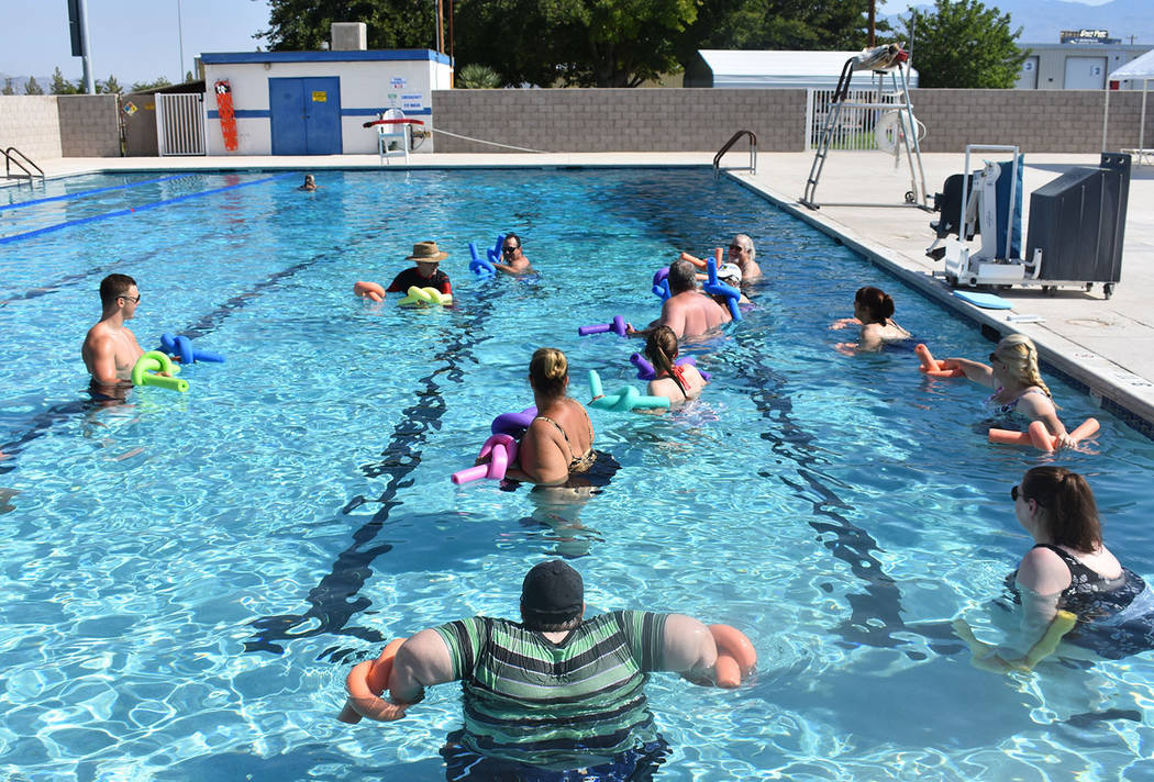 Daria Sokolova/Pahrump Valley Times  Water aerobics class takes place earlier this week at the Petrack Park pool in Pahrump.