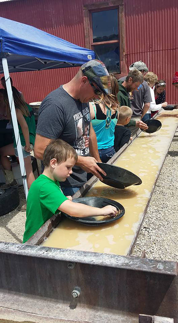 David Jacobs/Pahrump Valley Times People pan for gold in Tonopah's Historic Mining Park during the 2016 Jim Butler Days that pay tribute to the community's mining heritage.