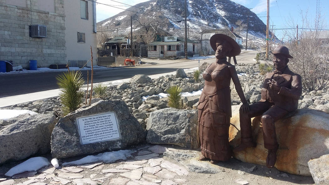 David Jacobs/Pahrump Valley Times Jim and Belle Butler is shown in a 2016 photo taken in Tonopah where a monument honors them.