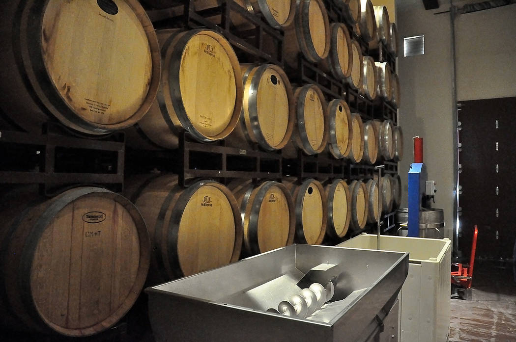 Horace Langford Jr./Pahrump Valley Times Wine is stored as shown prior to a groundbreaking event at Pahrump Valley Winery on June 21, 2017. Production could be increased by five times through the  ...