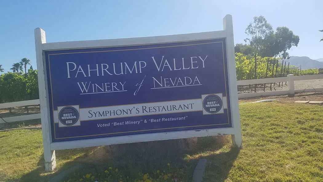 David Jacobs/Pahrump Valley Times A look at a sign marking the entrance to the Pahrump Valley Winery as shown in a June 22 photo.to.