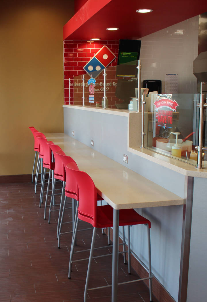 Jeffrey Meehan/ Pahrump Valley Times New seating at the redesigned Dominos Pizza at 250 Highway 160, Ste. 6, allows diners to have a place to hang out, grab some pizza and watch pizza get tossed.  ...