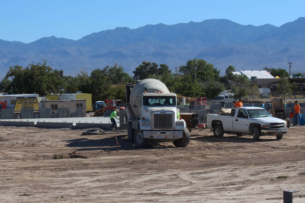 Jeffrey Meehan/Pahrump Valley Times Construction crews work on the Tractor Supply Co. retail store at 900 E Highway 372 on June 26, 2017.