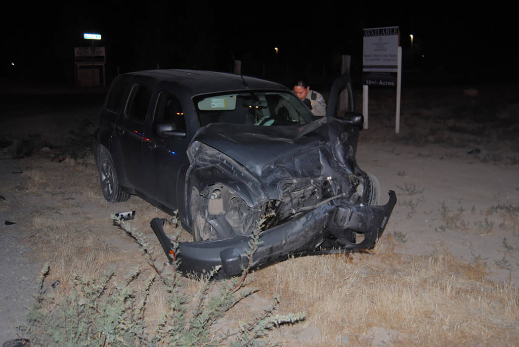 Special to the Pahrump Valley Times  Fire crews were summoned to the intersection of Homestead and Kellogg roads, for a two-car collision the evening of June 21. Upon arrival, fire crews found a h ...