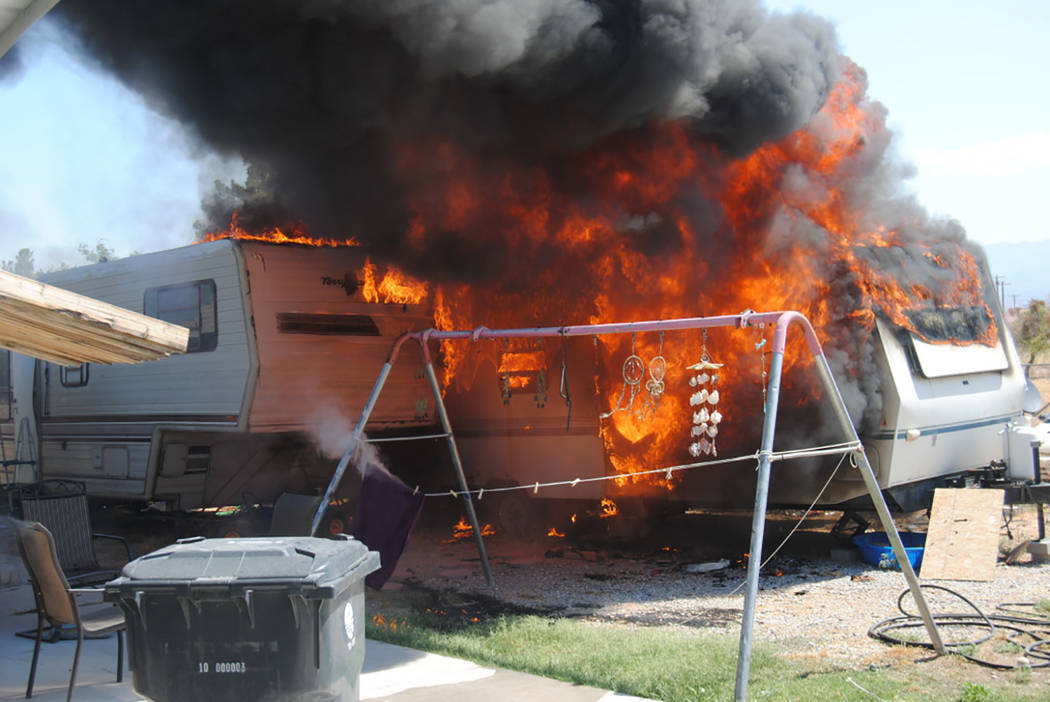 Special to the Pahrump Valley Times  Two motor homes were destroyed following a fire on the 4500 block of West Calvada Boulevard.  Fire crews ensured that all occupants were accounted for and safe ...