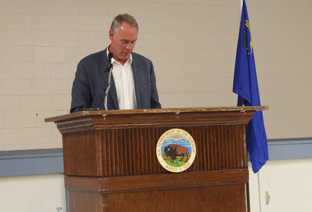 Jeffrey Meehan/Pahrump Valley Times Interior Secretary Ryan Zinke speaks at the Bob Ruud Community Center at 150 N Highway 160 on June 26, 2017 about allocating federal dollars to Nye County and N ...