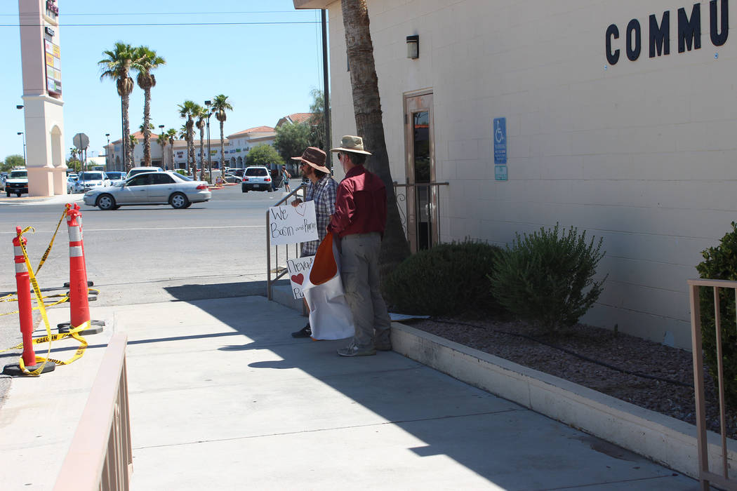 Jeffrey Meehan/Pahrump Valley Times A small group of protesters fighting to keep the Basin and Range monument area in tact gathered outside the Bob Ruud Community Center at 150 N. Highway 160.