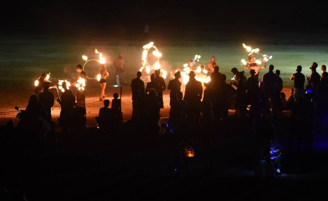 Richard Stephens/Special to the Pahrump Valley Times Fire Spinners performing before the burn at the Southern Nevada Regional Gathering.