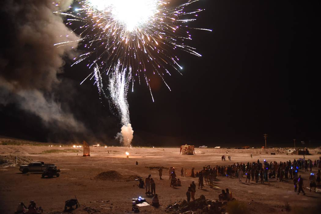 Richard Stephens/Special to the Pahrump Valley Times Part of the fireworks display before the burn at at the Southern Nevada Regional Gathering.
