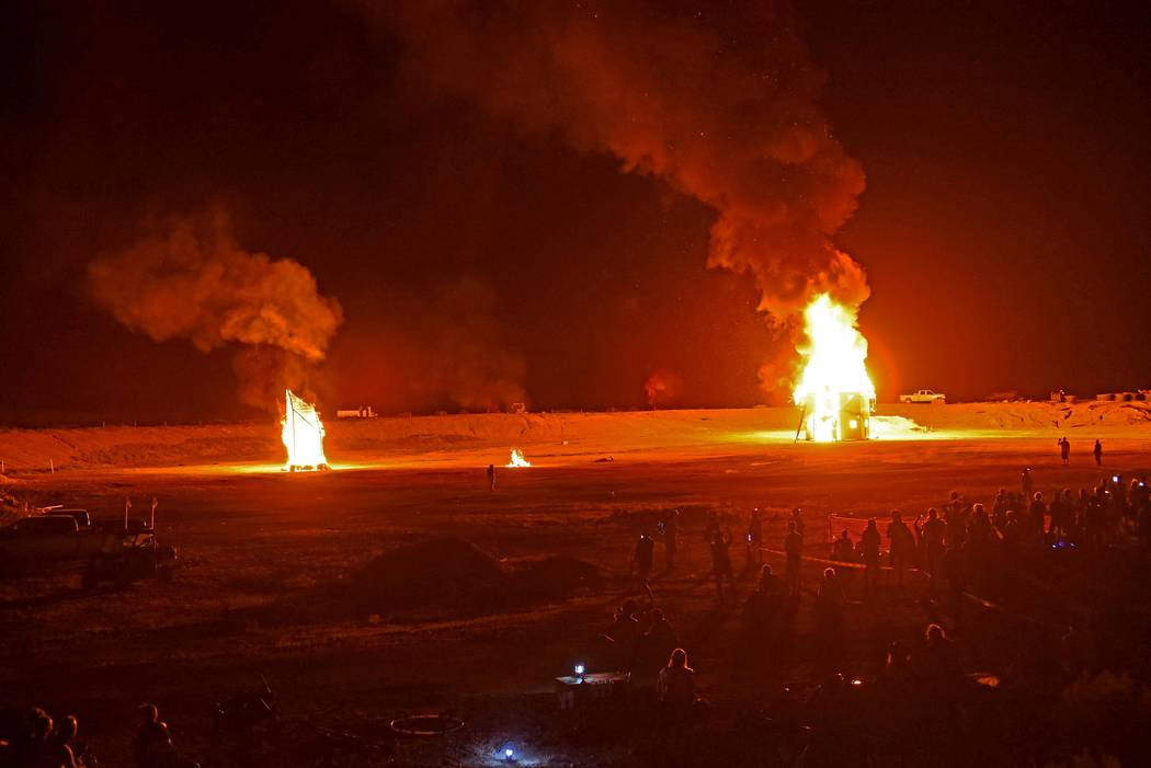 """Richard Stephens/Special to the Pahrump Valley Times The larger burn on the right is the """"temple"""" at the Southern Nevada Regional Gathering."""
