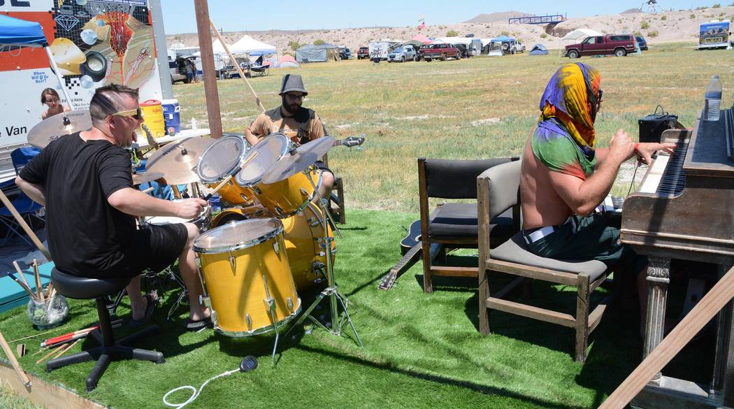 """Richard Stephens/Special to the Pahrump Valley Times Guys Jamming at """"Jam Camp,"""" where everyone was invited to play on professional-quality instruments regardless of skill level at the Southern Ne ..."""