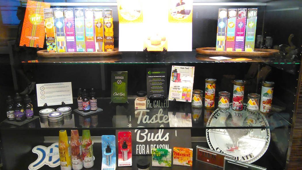 Selwyn Harris/Pahrump Valley Times  A look inside the Grove Grove marijuana dispensary in Pahrump as shown in a photo earlier this year. Manager Zach Wright recently hired 25 new employees at the  ...