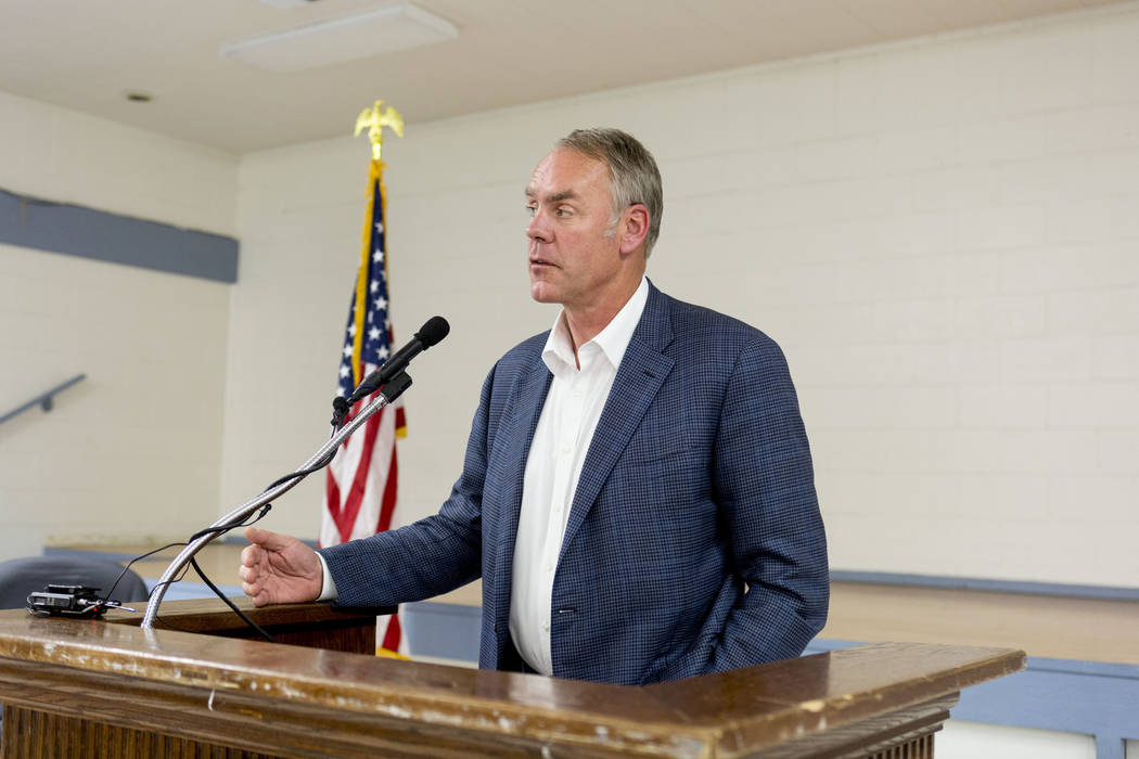 U.S. Secretary of the Interior Ryan Zinke at the Bob Ruud Community Center in Pahrump, Monday, June 26, 2017. Elizabeth Brumley Las Vegas Review-Journal