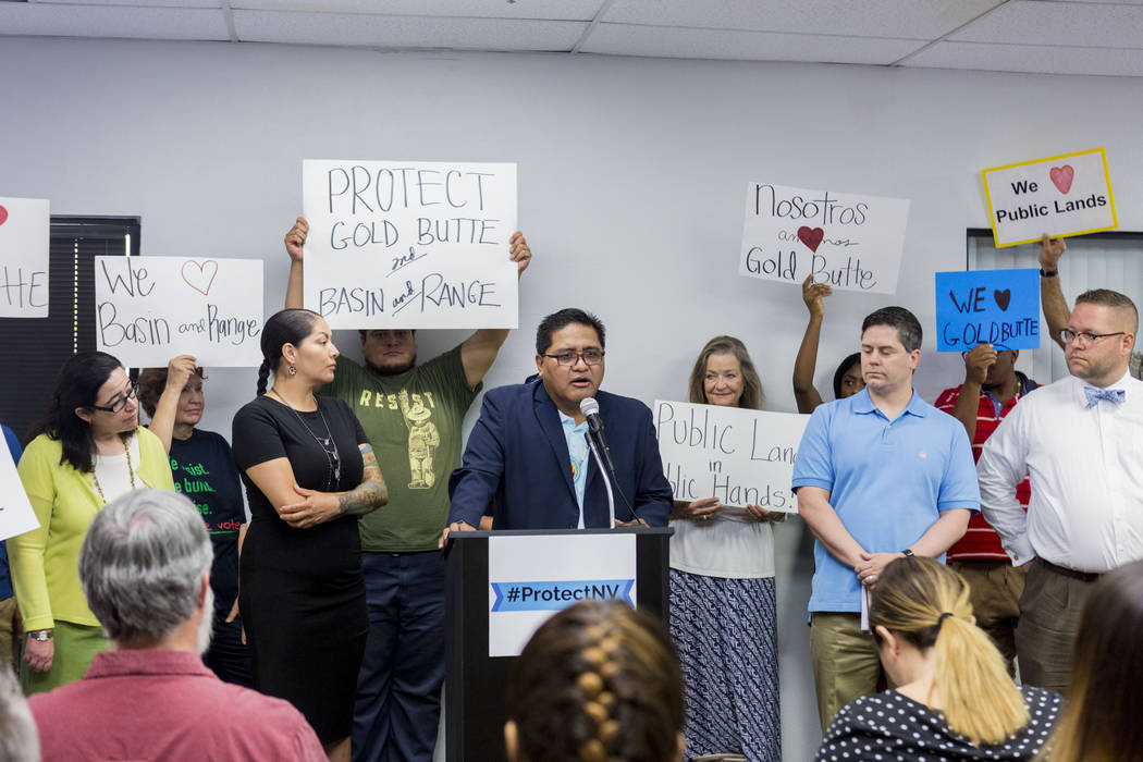 Moapa Band of Paiutes Tribal Chairman Darren Daboda speaks alongside a group of national monument supporters during a press conference calling to action the Trump administration and Interior Secre ...