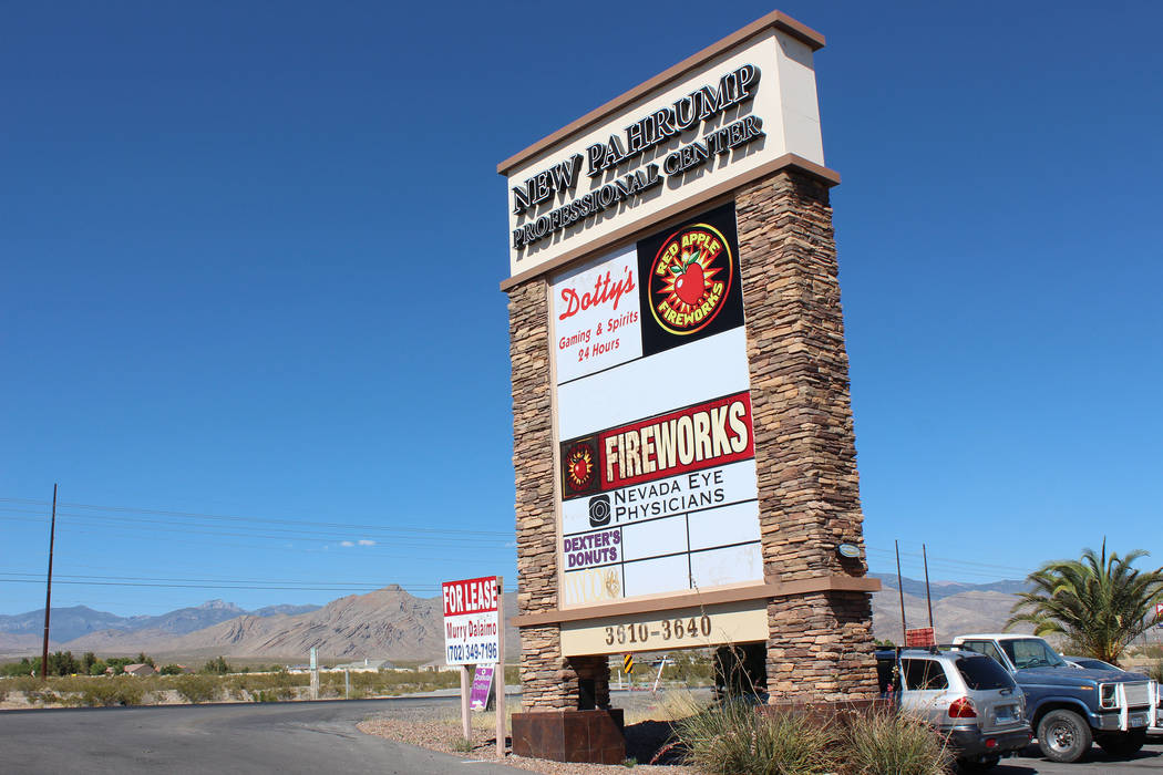 Photo by Jeffrey Meehan/Pahrump Valley Times Sign out front of the Apple Fireworks' retail center on 3610 Highway 160 on June 20, 2017.