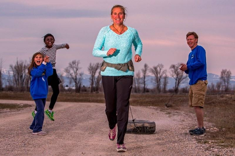 Special to the Pahrump Valley Times  Lisa Smith-Batchen uses a tire to strengthen her core and toughen up her legs for the long mountain pass runs in the Badwater 135 race.