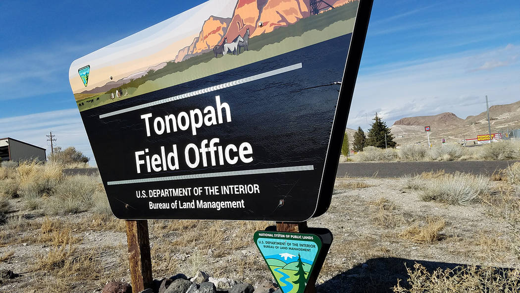 David Jacobs/Pahrump Valley Times The U.S. Bureau of Land Management is teaming up with TravelNevada for a 2017 photo contest. The sign is in front of a BLM office in Tonopah, the Nye County seat  ...
