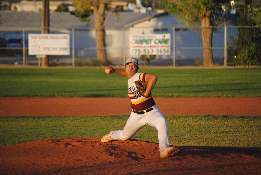 Charlotte Uyeno/Pahrump Valley Times Ian McRae gets the chance to pitch some games for the Connie Mack 16U Trojans against the Summerlin Panthers. He normally plays second base. In this game the T ...