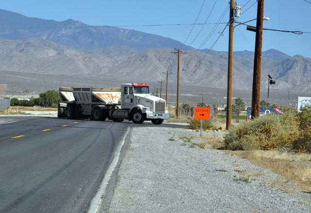 A truck takes a detour around roundabout construction in Pahrump. (Horace Langford Jr./Pahrump Valley Times)