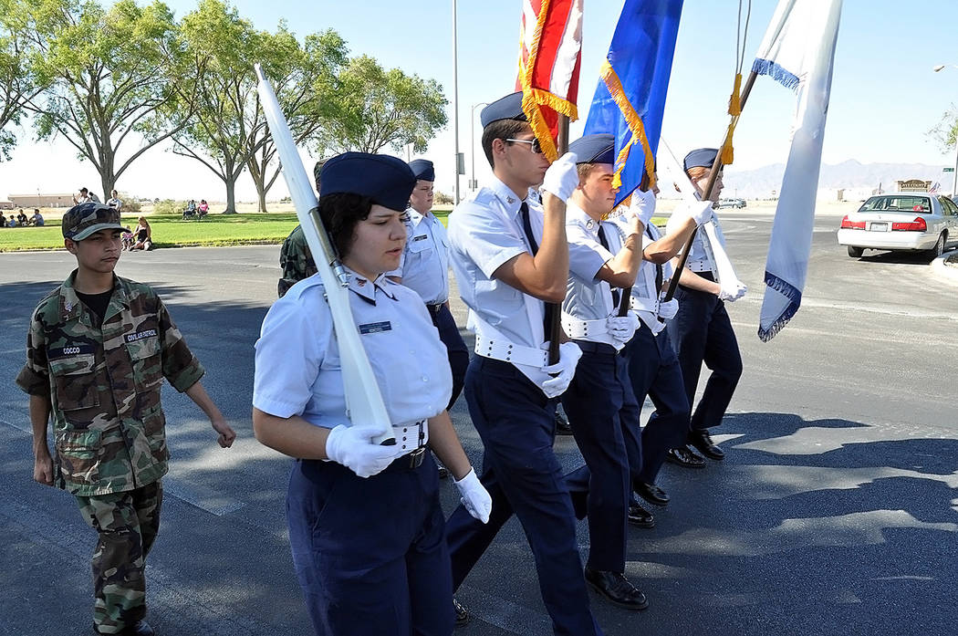 Horace Langford Jr./Pahrump Valley Times The Air Force Auxiliary, commonly referred to as the Civil Air Patrol, with the display of colors at the Independence Day parade in Pahrump.