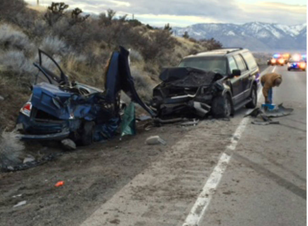 Nevada Highway Patrol The scene of a wreck in rural Nevada earlier this year. A newly released report includes information on fatal crashes in Nevada and how the state compares to others in the USA.