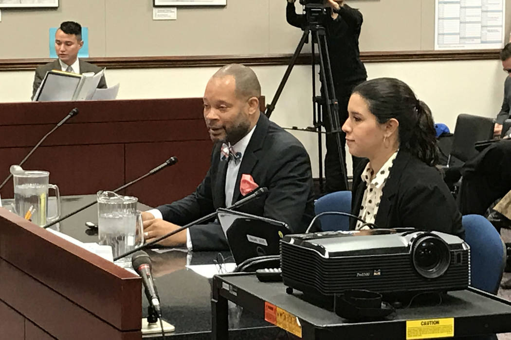 Democratic Majority Leader Aaron Ford, left, and state Sen. Yvanna Cancela, D-Las Vegas, present Senate Bill 106 on Feb. 20, 2017 in Carson City.  (Sandra Chereb/Las Vegas Review-Journal)