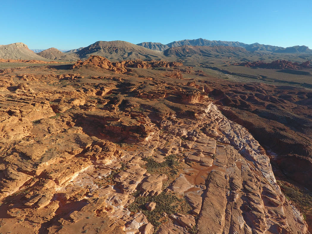An aerial view of Little Finland in Gold Butte National Monument, a plateau of red sandstone that has been shaped by the elements into curious and fascinating forms. (Michael Quine/Las Vegas Revie ...