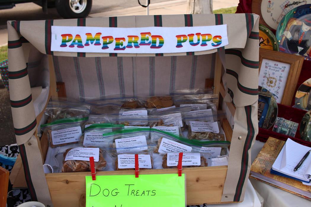Jeffrey Meehan/Pahrump Valley Times Homemade dog treats at the farmer's market at Draft Picks on July 8, 2017.