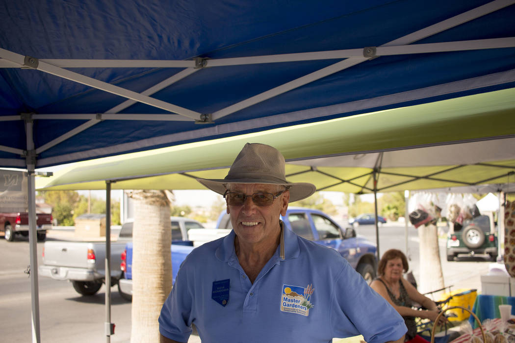 Jeffrey Meehan/Pahrump Valley Times Steve Richardson, who coordinates the farmer's market and Master Gardeners' booth, stands for a photo at the market on July 8, 2017. The farmer's market is host ...