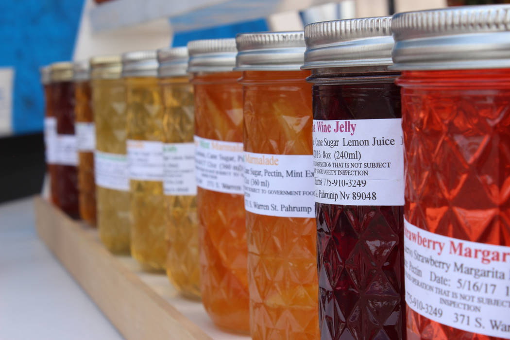Jeffrey Meehan/Pahrump Valley Times Butch Dole, vendor at the farmer's market in the Draft Picks' parking lot, sells 30 flavors of jellies.