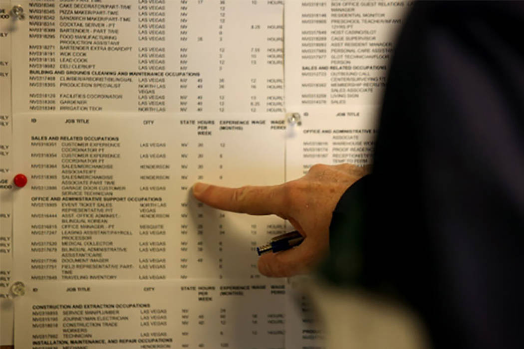 Las Vegas Review-Journal A man who asked not to be identified looks at the employment board at Nevada JobConnect in Henderson. Nevada's unemployment rate is at a seasonally adjusted 4.7 percent fo ...